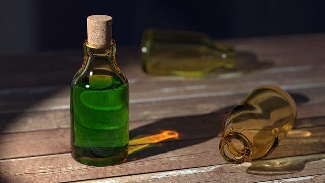 Petit flacon d'huile de lin