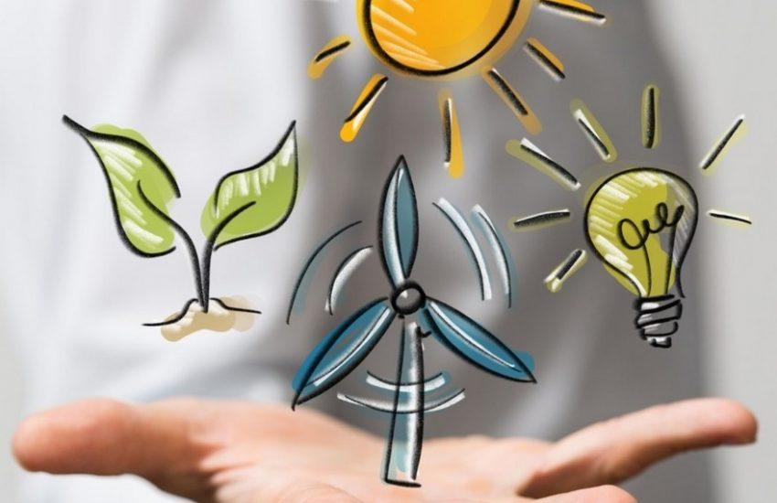 Dessins énergies renouvelables dans la main
