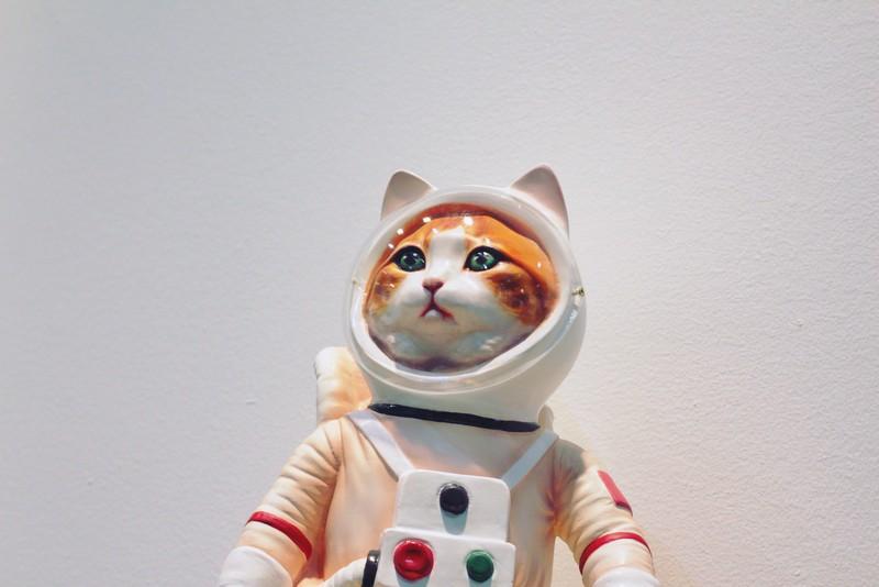 figurine de chat déguisé en astronaute